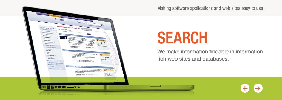 Search: We make information findable in information rich web sites and database