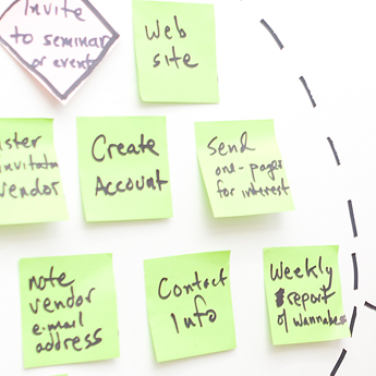 Information architecture design with sticky notes